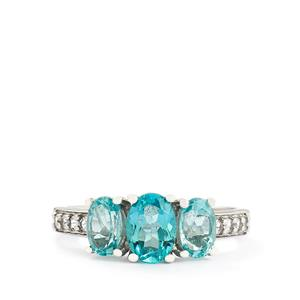 Madagascan Blue Apatite & White Topaz Sterling Silver Ring ATGW 2.01cts