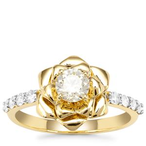 Natural Yellow Diamond Ring with White Diamond in 18K Gold 0.80ct