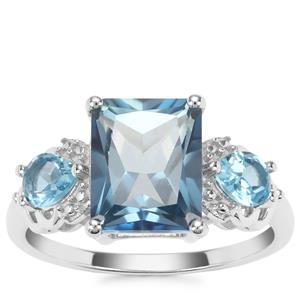 Santa Maria Topaz Ring with Swiss Blue Topaz in Sterling Silver 4.75cts