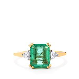 Ethiopian Emerald Ring with Diamond in 18K Gold 2.38cts