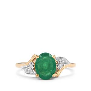 Minas Gerais Emerald Ring with Diamond in 18K Gold 1.47cts