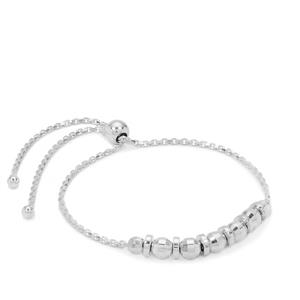 "10"" Sterling Silver Altro Diamond Cut Ball Sliding Bracelet 4.43g"