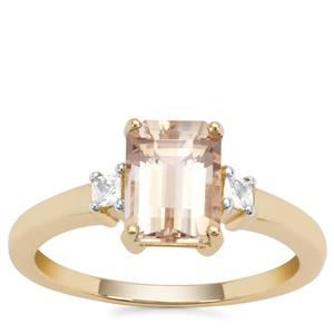 Champagne Danburite Ring with White Zircon in 9K Gold 1.82cts