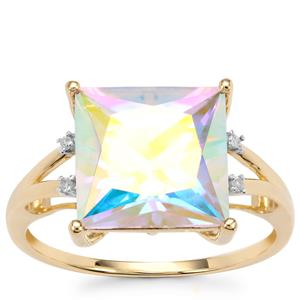 Mercury Mystic Topaz Ring with Diamond in 10K Gold 5.84cts