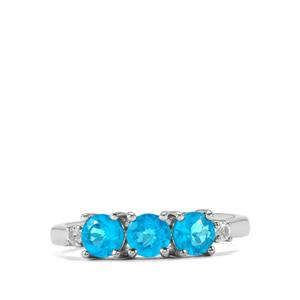 Neon Apatite & White Topaz Sterling Silver Ring ATGW 1.18cts