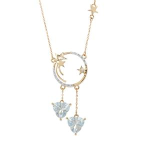 Lehrer Infinity Cut Sky Blue Topaz Necklace with Diamond in 9K Gold 4.70cts