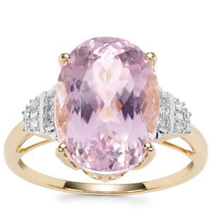 Kolum Kunzite Ring with Diamond in 10k Gold 7.70cts