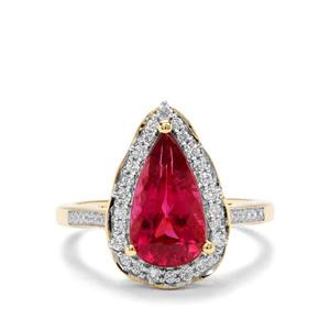 Mawi Rubellite & Diamond 18K Gold Lorique Ring MTGW 3.07cts