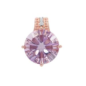 Rose De France Amethyst Pendant with White Zircon in Rose Gold Plated Sterling Silver 6.07cts