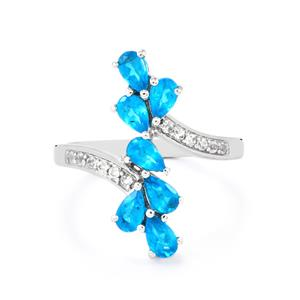 Neon Apatite & White Topaz Sterling Silver Ring ATGW 1.59cts