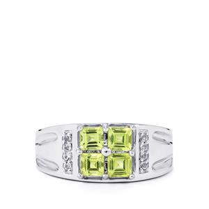 Changbai Peridot & White Topaz Sterling Silver Ring ATGW 1.07cts