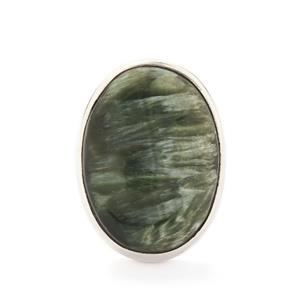 23.00ct Siberian Seraphinite Sterling Silver Tookalon Ring