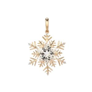 Wobito Snowflake Cut Cullinan Topaz Pendant with White Topaz in 9K Gold 5.41cts