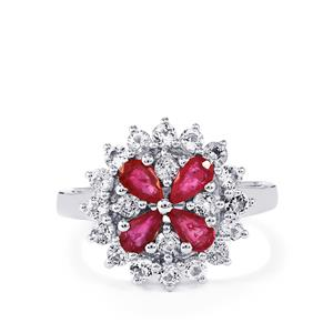 Siam Ruby Ring with White Topaz in Sterling Silver 2cts