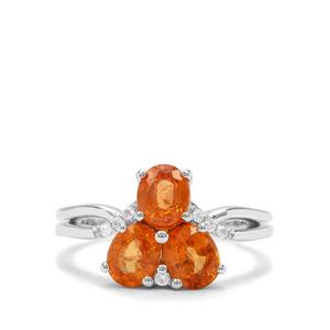 Mandarin Garnet & White Zircon Sterling Silver Ring ATGW 3.08cts
