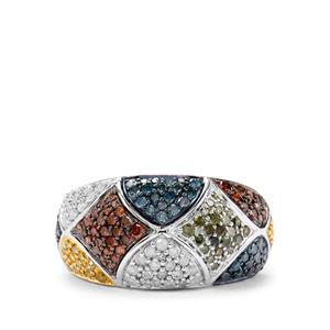 1ct Blue, Yellow, Green, Cognac & White Diamond Sterling Silver Ring