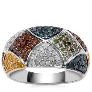 Blue, Yellow, Green & Cognac Diamond Ring with White Diamond in Sterling Silver 1ct