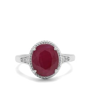 Bharat Ruby Ring with White Zircon in Sterling Silver 4.90cts