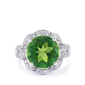 Fern Green Quartz & White Topaz Sterling Silver Ring ATGW 6.46cts