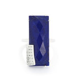 Sar-i-Sang Lapis Lazuli & White Topaz Sterling Silver Ring ATGW 20.89cts