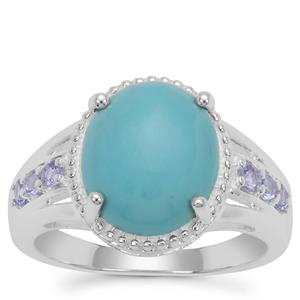Sleeping Beauty Turquoise Ring with Tanzanite in Sterling Silver 3.62cts