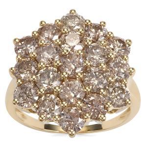 Champagne Diamond Ring in 9K Gold 4.15ct