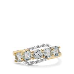 Aquaiba™ Beryl & Diamond 9K Gold Ring ATGW 1.16cts