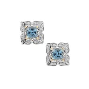 Nigerian Aquamarine Earrings with White Zircon in 9K Gold 1.20cts