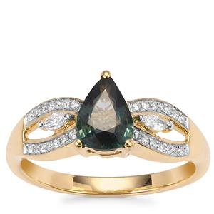 Natural Nigerian Sapphire Ring with Diamond in 18K Gold 1.04