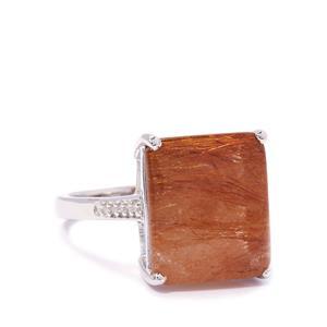 Rutile Quartz & Diamond Sterling Silver Ring ATGW 10.27cts