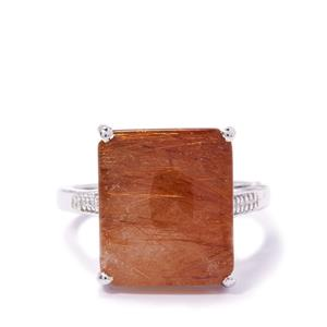 Rutile Quartz Ring with Diamond in Sterling Silver 10.27cts
