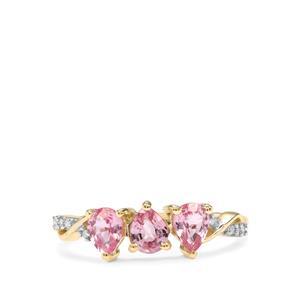 Sakaraha Pink Sapphire & Diamond 10K Gold Ring ATGW 1.12cts