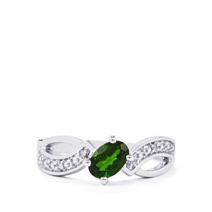 Chrome Diopside Ring with Diamond in Sterling Silver 0.64cts