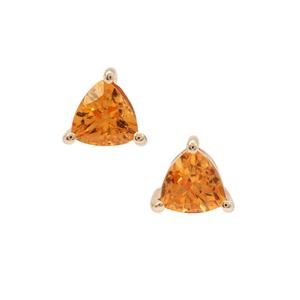 1.26ct Mandarin Garnet 9K Gold Earrings