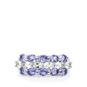Tanzanite Ring with Espirito Santo Aquamarine in Sterling Silver 2.62cts