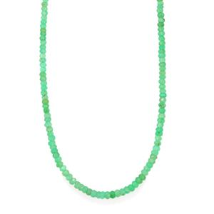 48ct Chrysoprase Sterling Silver Bead Necklace with Magnetic Lock