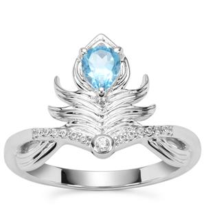 Swiss Blue Topaz Ring with White Zircon in Sterling Silver 0.46ct