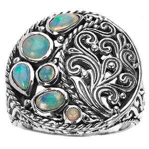 Ethiopian Opal Samuel B Ring in Sterling Silver 0.78ct