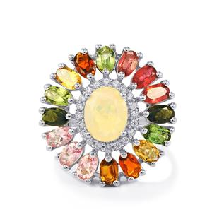 Ethiopian Opal, Rainbow Tourmaline Ring with White Zircon in Sterling Silver 4.91cts