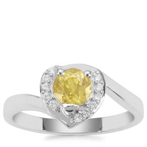 Ambilobe Sphene Ring with White Zircon in Sterling Silver 0.98ct