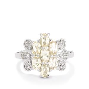 Zambezia Morganite & White Topaz Sterling Silver Ring ATGW 1.59cts