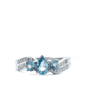 Ratanakiri Blue Zircon Ring with White Topaz in Sterling Silver 2.28cts