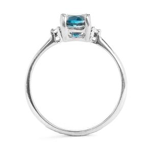 Ceylonese London Blue Topaz Ring with White Zircon in Sterling Silver 1.11cts