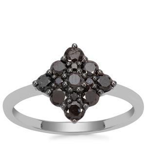 Black Diamond Sterling Silver Ring 1/3ct