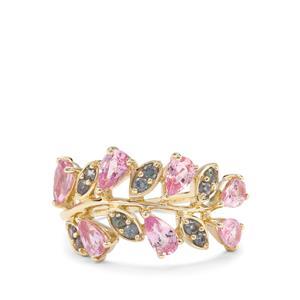 Sakaraha Pink Sapphire & Color Change Garnet 9K Gold Ring ATGW 2.09cts