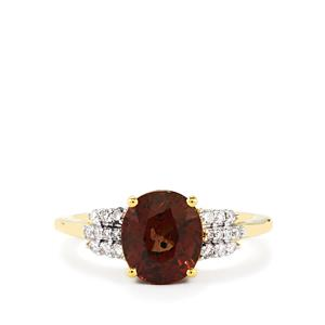 Color Change Garnet Ring with Diamond in 18k Gold 3.31cts