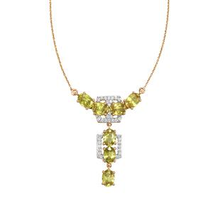 Ambilobe Sphene Necklace with White Zircon in 9K Gold 7.08cts