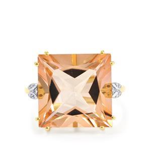 Galileia Topaz & Diamond 10K Gold Ring ATGW 15.21cts