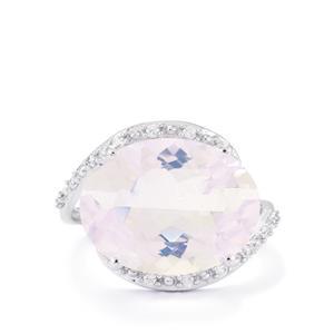 Lavender Quartz & White Zircon 10K White Gold Ring ATGW 8.74cts