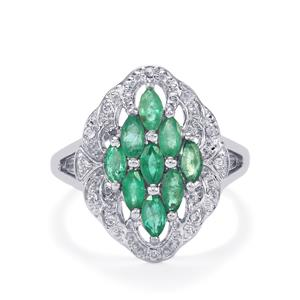 Carnaiba Brazilian Emerald Ring with White Topaz in Sterling Silver 1.13cts
